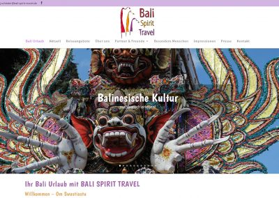 Webseite Bali Spirit Travel