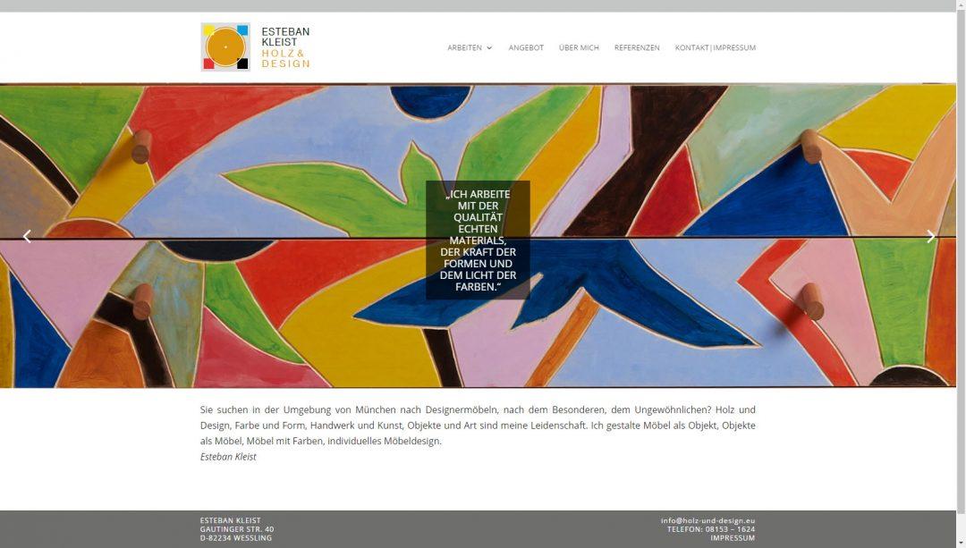 Webseite Esteban Kleist, Holz & Design